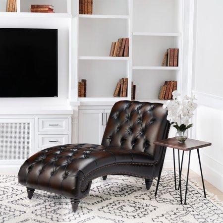 Devon & Claire Keros Hand Rubbed Brown Leather Chaise