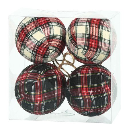 "Vickerman 465875 - 4"" Red/Black Plaid Fabric Ball ..."