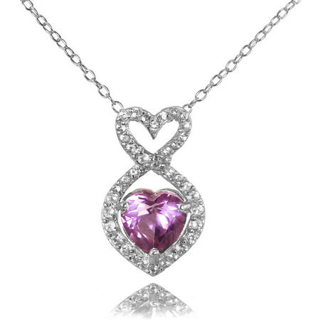 Alexandrite Heart Pendant (Simulated Alexandrite and CZ Sterling Silver Infinity Heart Necklace)