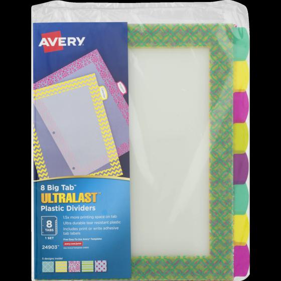 Avery 8 Big Tab Ultralast Plastic Dividers 10 Ct Walmart
