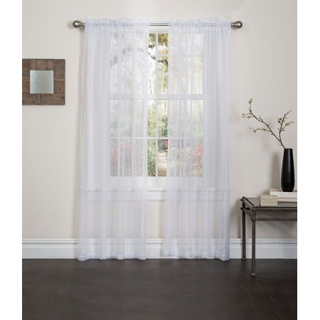 "Linen Store 2 Piece Sheer Voile Window Curtain Rod Pocket Panels, total width 108"" x 84"" (White)"