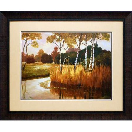 North American Art Reeds  Birches And Water Ii By Graham Reynolds Framed Painting Print