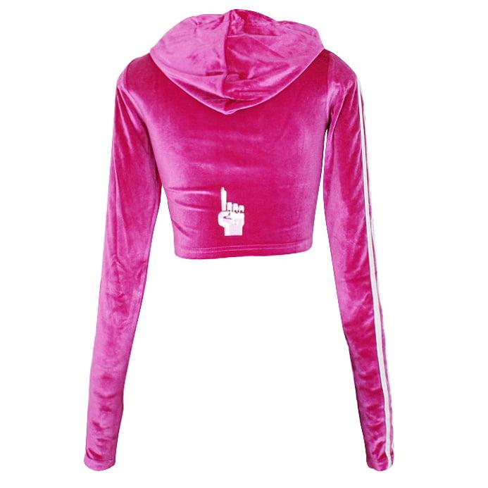 Hood Goodie Women's Panne Velvet Low Cut Hooded Long Sleeve Top Raspberry - image 1 of 3