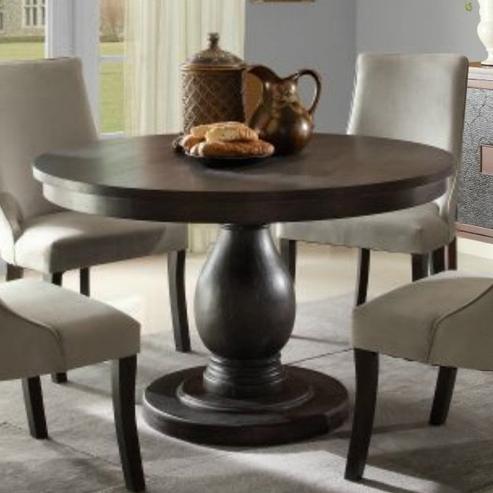 Homelegance Dandelion Round Pedestal Dining Table In Distressed Taupe