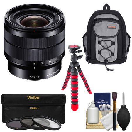 Sony Alpha E-Mount 10-18mm f/4.0 OSS Wide-angle Zoom Lens with Backpack + 3 Filters + Tripod Kit for A7, A7R, A7S Mark II, A5100, A6000, A6300