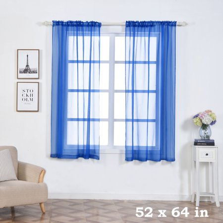 BalsaCircle 2 pcs 52 x 64-Inch Sheer Organza Curtains Drapes Panels Window Treatments - Home Decorations - Blue And Yellow Curtains