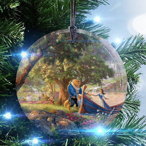 Trend Setters Disney Thomas Kinkade (Beauty and the Beast II) StarFire Prints Glass Hanging Ornament