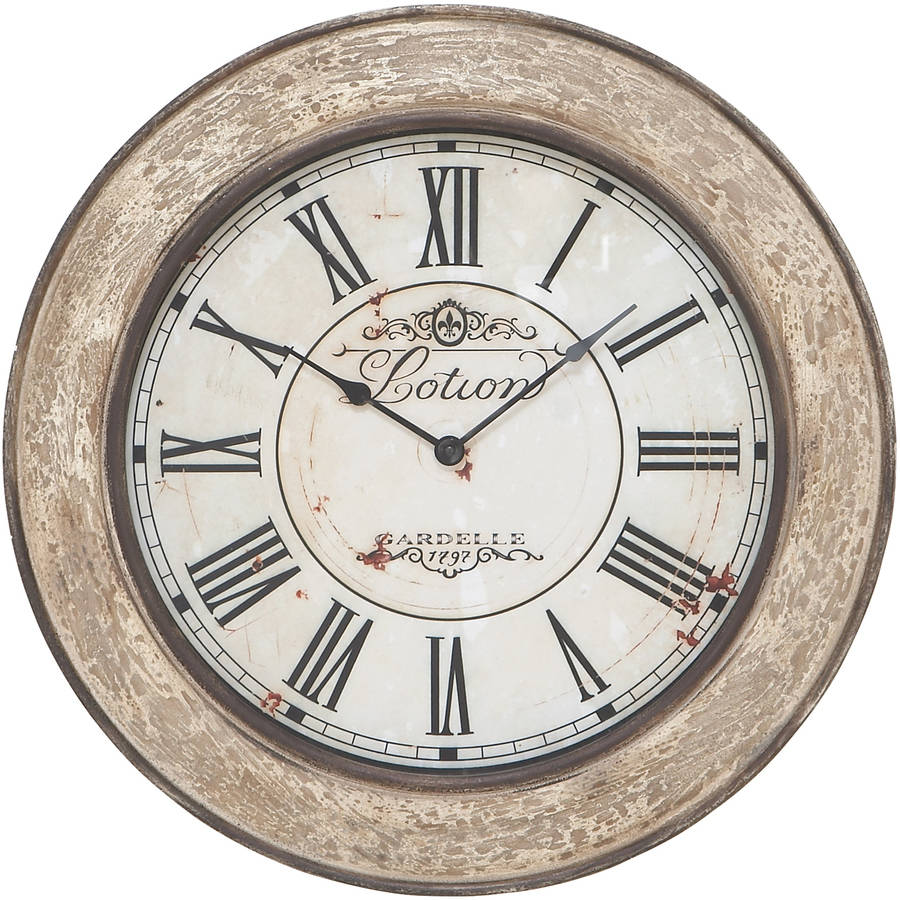 Decmode Wood Wall Clock, Ivory
