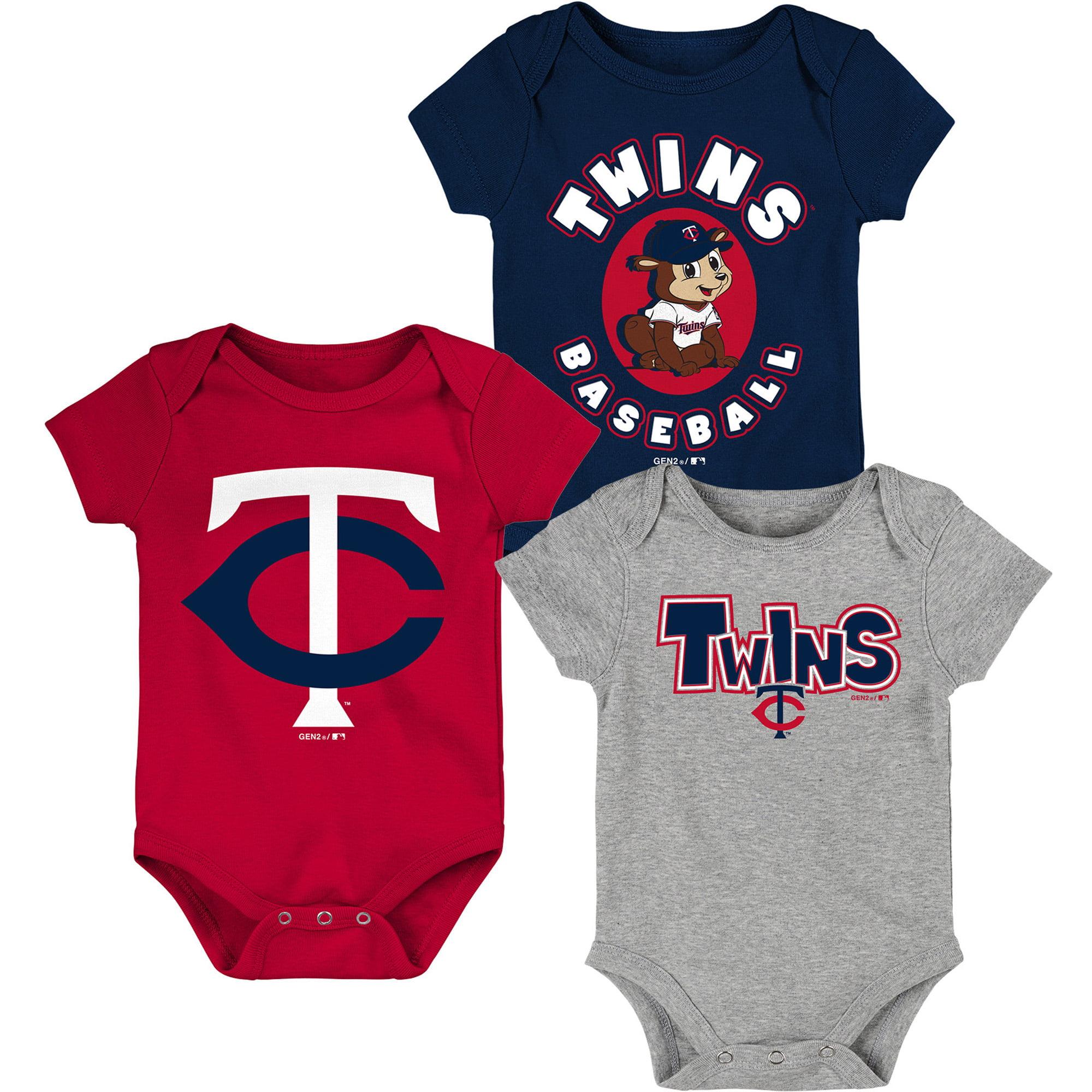 Minnesota Twins Infant Everyday Fan Three-Pack Bodysuit Set - Navy/Red/Heathered Gray