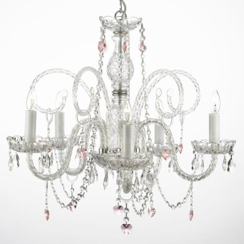Gallery 387-5 5 Light 1 Tier Murano Venetian Style All-Crystal Chandelier