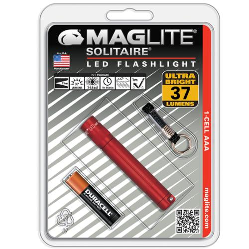 Maglite Solitaire Red LED 37 Lumens Flashlight w/ Lanyard & Battery - SJ3A036