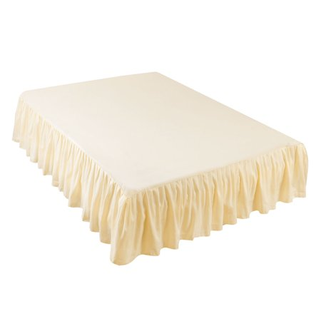 Pleated Bed Skirts Polyester Solid Dust Ruffle 14 Inch Drop Beige,21 - image 1 de 8