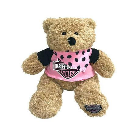 Harley-Davidson Babe 12 in. Huggy Stuffed Plush Bear, Black & Pink 9900851, Harley Davidson