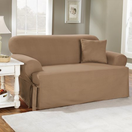 Sure Fit Cotton Duck T-Cushion Sofa Slipcover