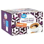 Great Value 100% Arabica French Roast Coffee Pods, Dark Roast, 96 Count