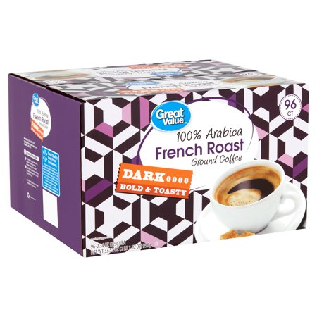 Great Value 100% Arabica French Roast Coffee Pods, Dark Roast, 96