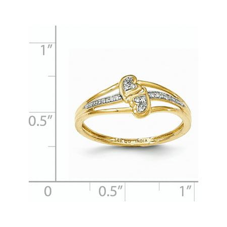 14k or jaune double anneau de coeur mode - image 2 de 3
