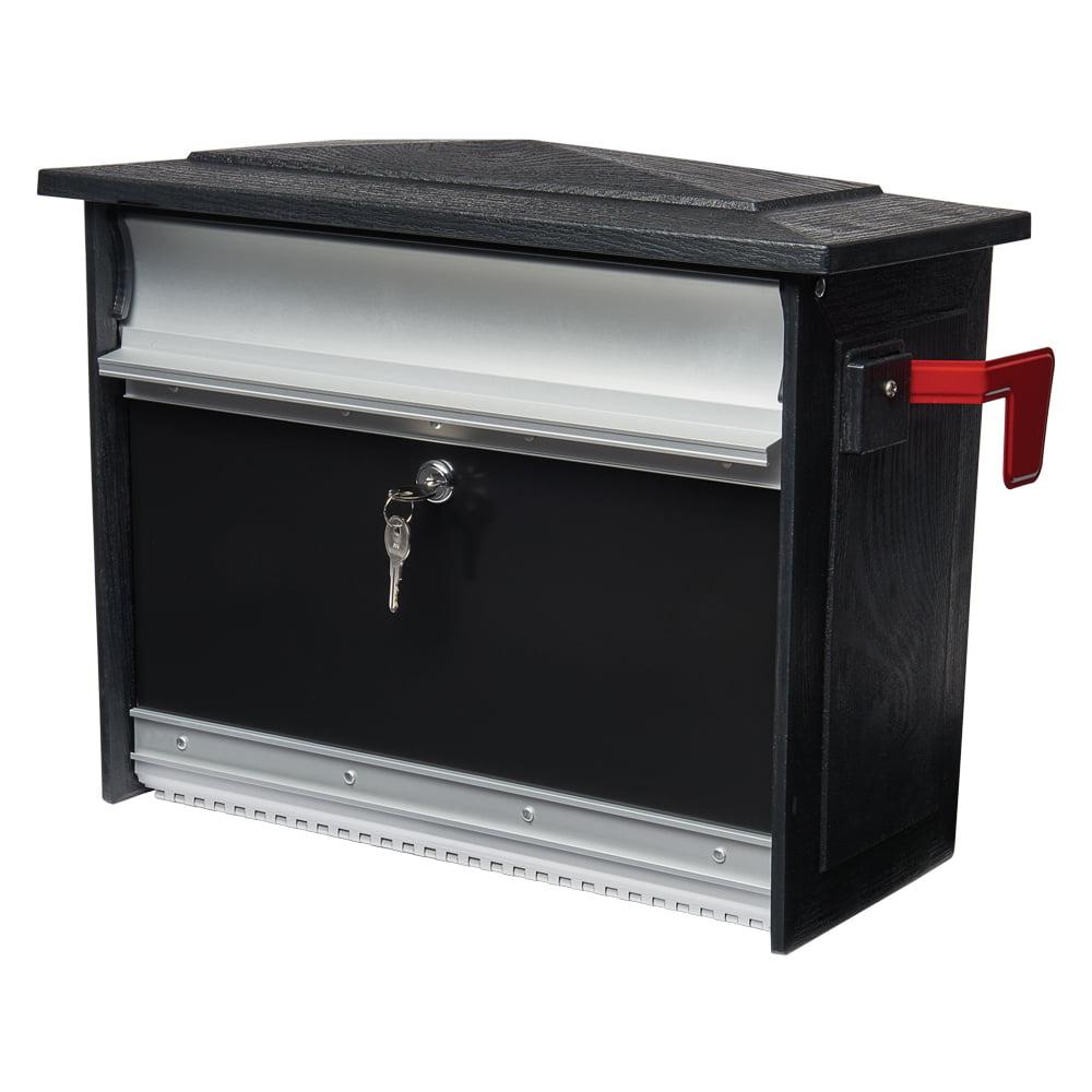 Gibraltar Mailboxes Mailsafe Locking Medium Capacity Heavy-Duty Plastic Black Wall Mount Mailbox, MSK00000