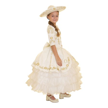 Girls Ivory Gold Ruffles Embroidery Bolero Hat Mariachi Dress
