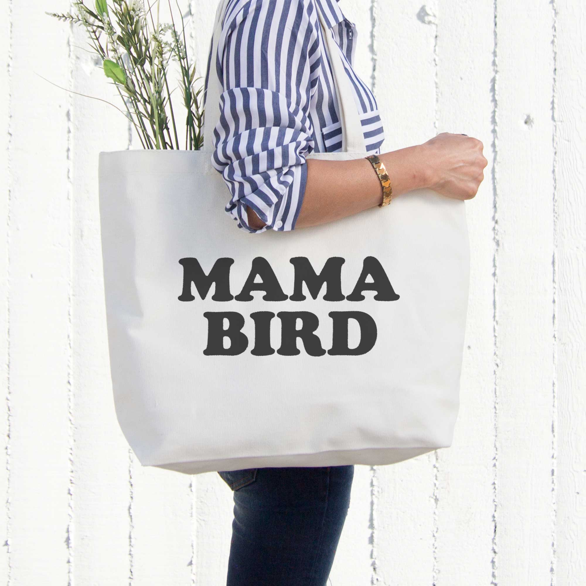 Mama Bird Canvas Bag Grocery Diaper Book Bags Gifts For Mom Mothers Day Gift