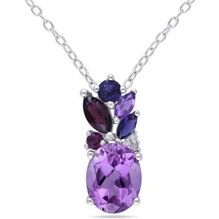 2-5/8 Carat T.G.W. Amethyst, Purple Garnet and Iolite with Diamond-Accent Sterling Silver Multi-Stone Pendant, 18