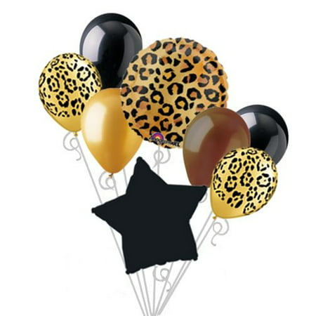Cheetah Print Balloon Bouquet Set Party Decoration 8pc