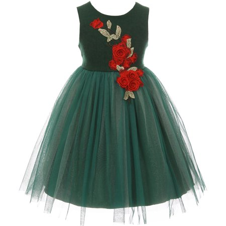 759b45a22 BNY Corner - Little Girl Sleeveless Roses Wool Top Fall Winter Holiday  Party Flower Girl Dress Green 2 KD C201 BNY Corner - Walmart.com