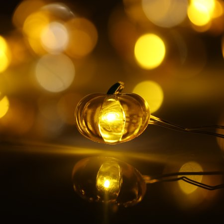 Halloween Pumpkin String Light 40 LEDs 3m/10ft Battery-operated Fairy Lamp for Indoor Outdoor Halloween Decoration](Halloween Pumpkin Lamp Post Cover)