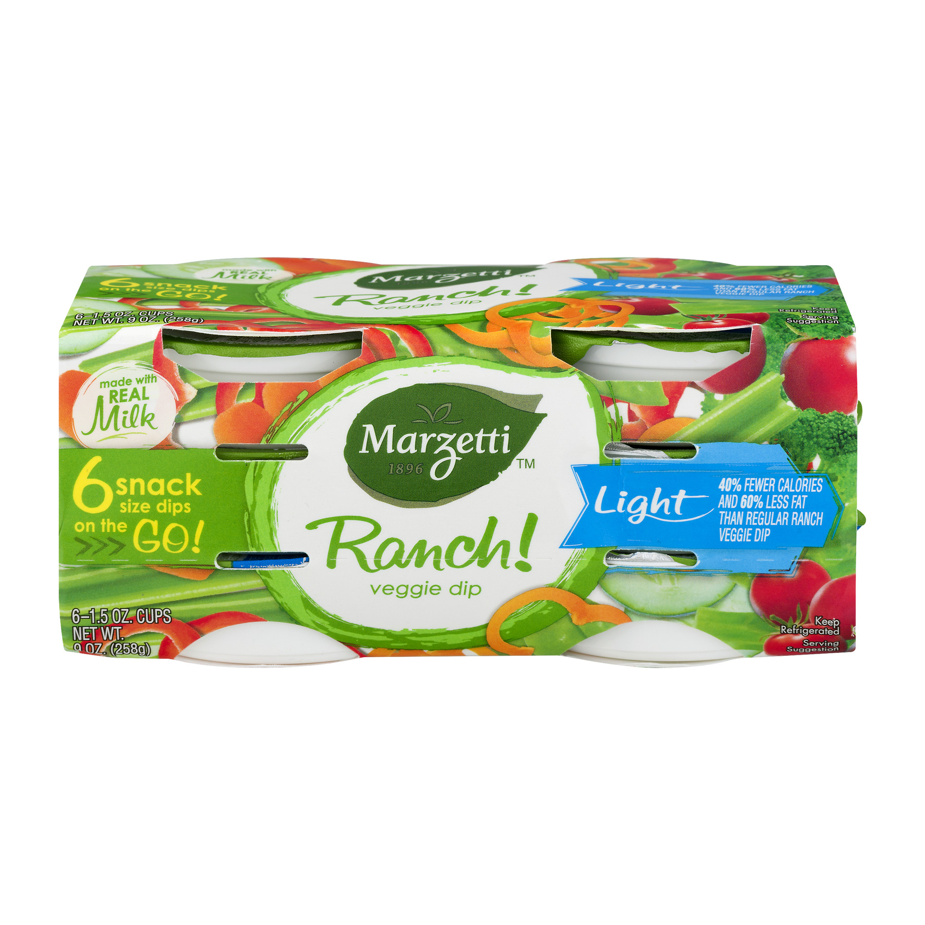Marzetti® Veggie Dip Light Ranch Singles 6 ct 9 oz. Sleeve