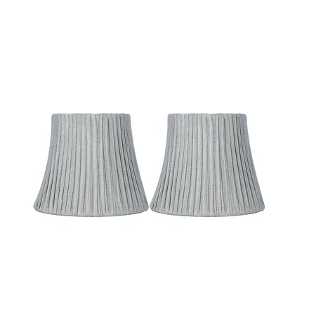 Urbanest Box Pleated Mini Chandelier Lamp Shade, Silver, 3x6x5', Softback, Clip On, Set of 2 ()