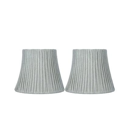 Urbanest Box Pleated Mini Chandelier Lamp Shade, Silver, 3x6x5', Softback, Clip On, Set of -