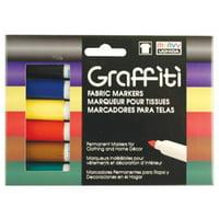 Marvy Uchida Graffiti Primary Fabric Markers Set, 6 Piece