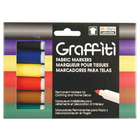 Marvy Graffiti Fabric Markers Primary Set