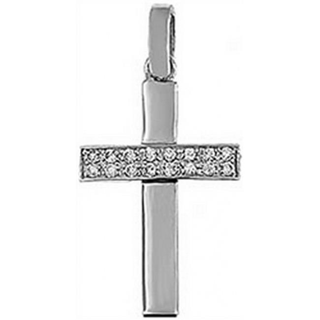 Doma Jewellery DJS03465 Sterling Silver (Rhodium Plated) Cross Pendant with CZ and Extension Leather Necklace