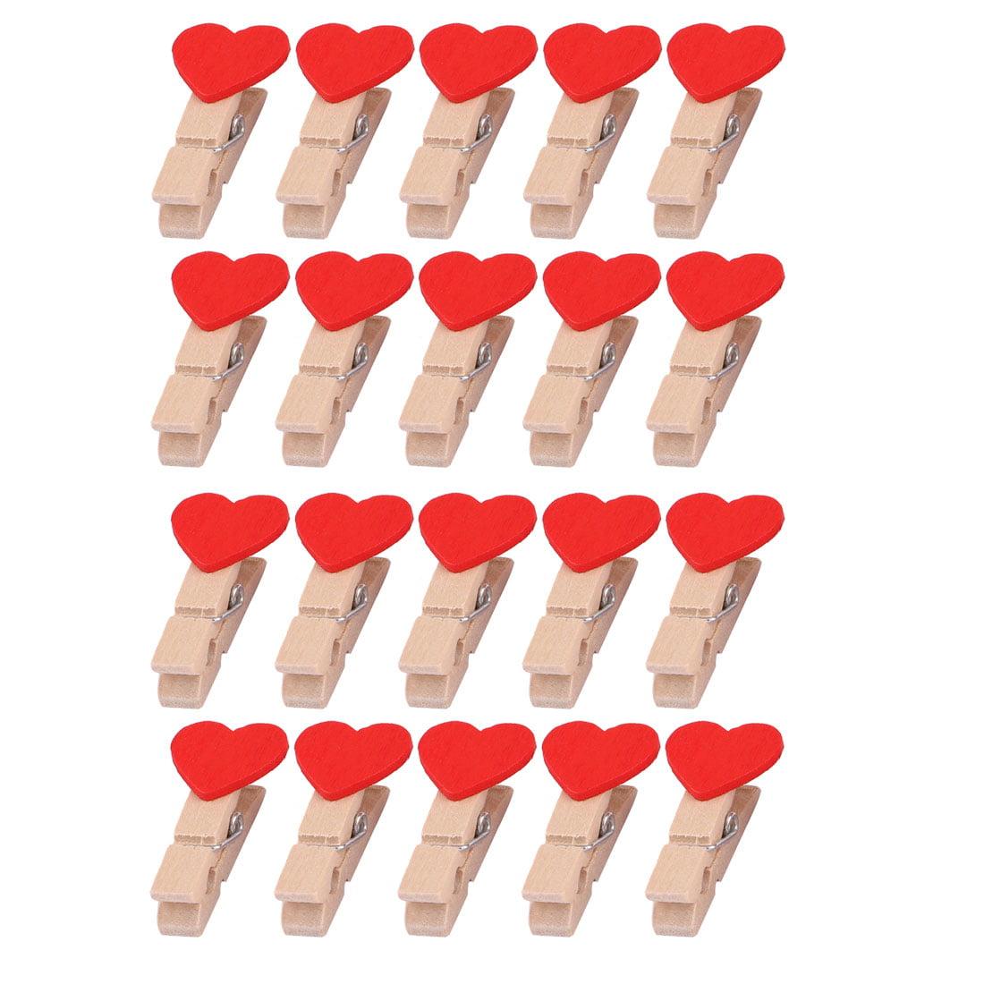 Wooden Love Heart Decor DIY Photo Card Scrapbooks Hanging Hanger Clip Red 20pcs
