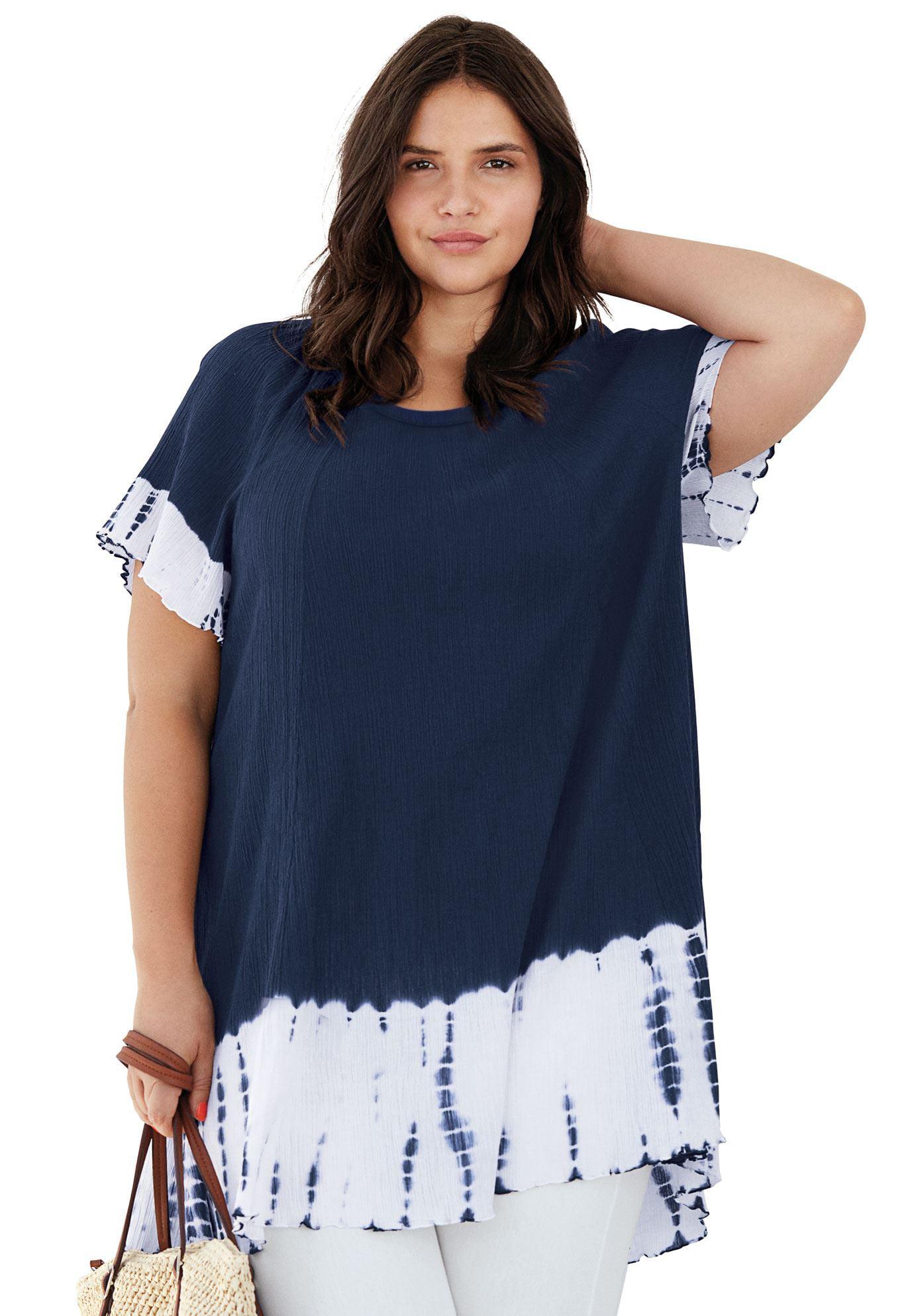 bb81fd7113858 Ellos - Plus Size Tie-dye Gauze Tunic - Walmart.com