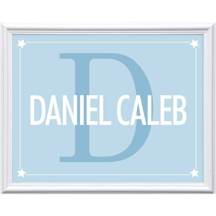 Personalized Kid's Name and Initial Print, Teal