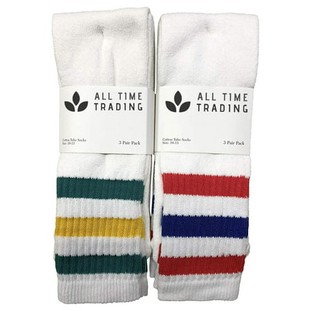 Mens Wholesale Cotton Tube Socks - Striped Tube Socks For Men - 10-13 - White - 12 Pack