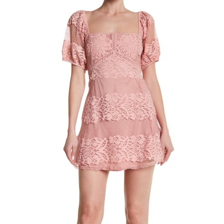 Free People Pink Womens Square-Neck Lace Sheath Dress -