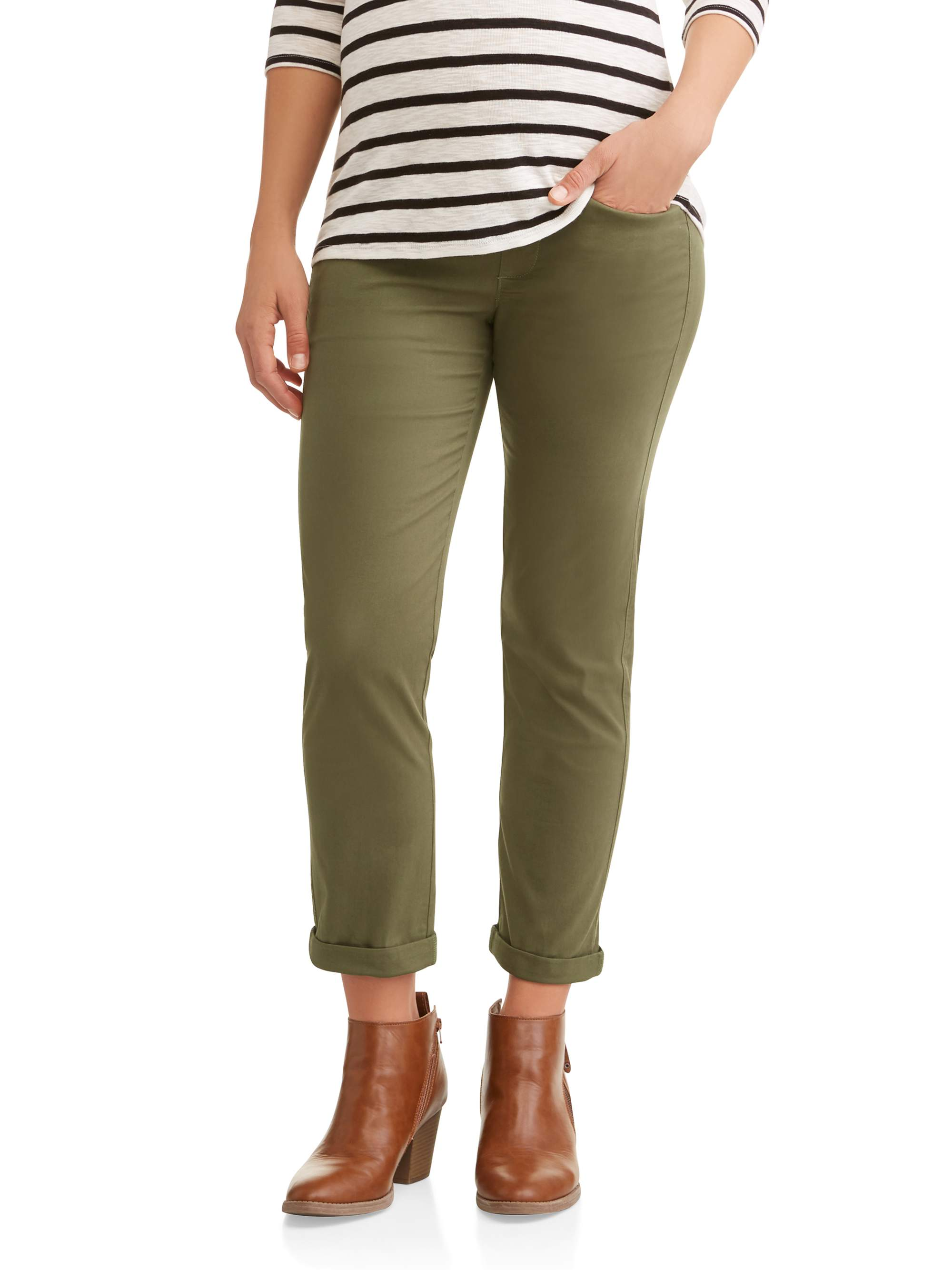 Maternity Over the Belly Stretch Twill Cuffed Chino Pant
