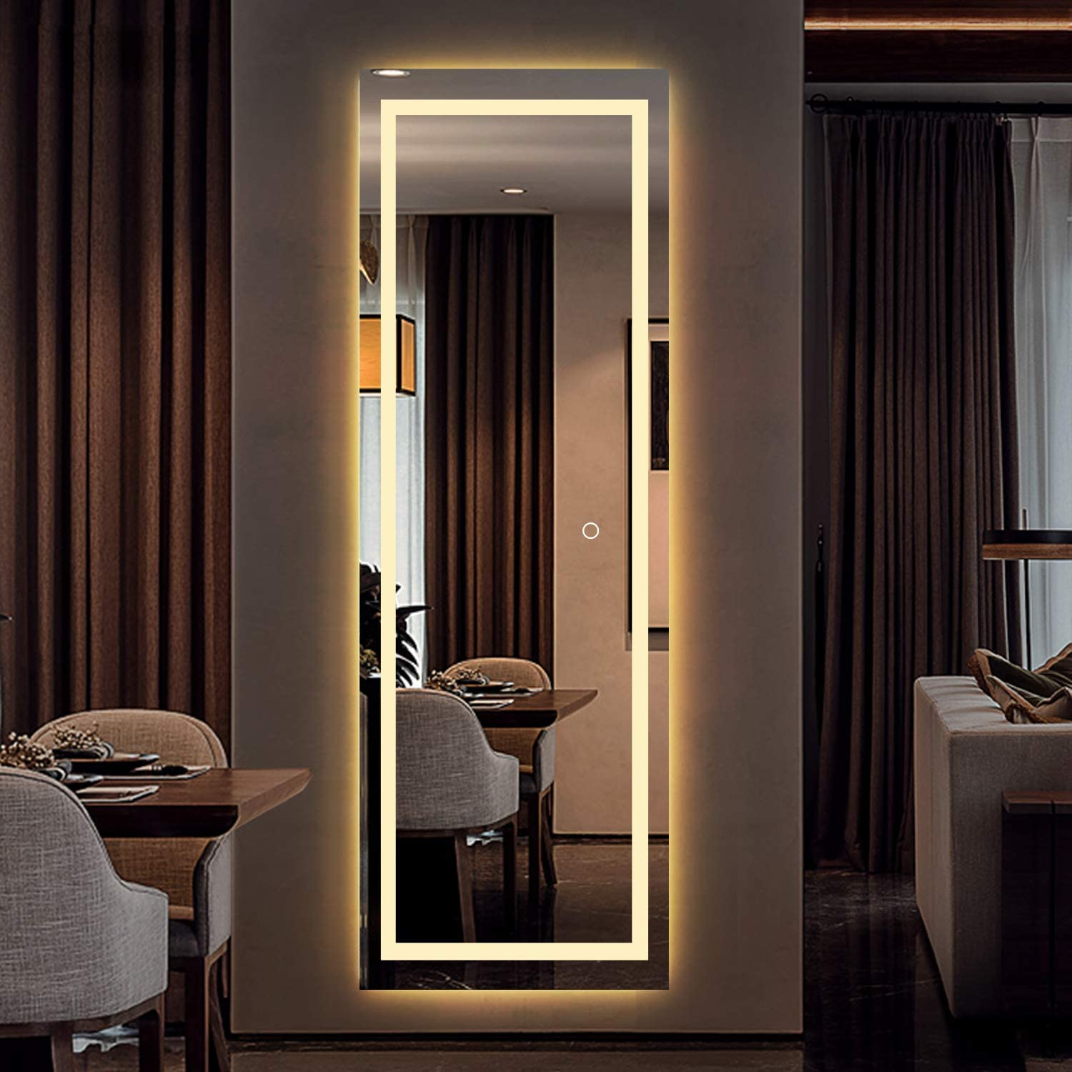 LED Full Length Mirror Wall Mounted Lighted Floor Mirror ...