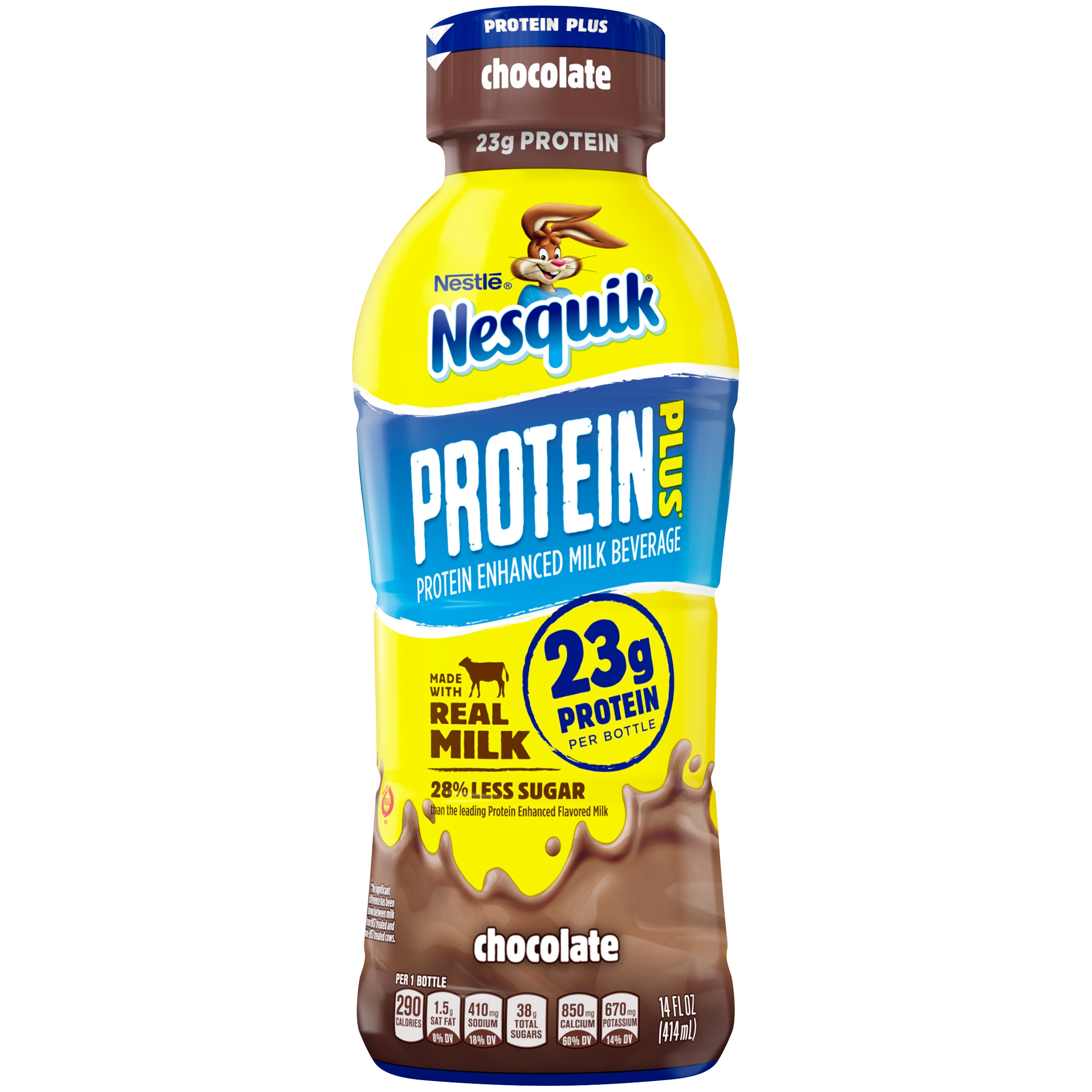 NESTLE NESQUIK Protein Plus Chocolate Flavored Low Fat Milk 14 fl. oz. Plastic Bottle