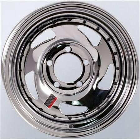 Trailer Wheel Chrome Rim 14 x 5.5 in. Directional Style 5 Lug On 4.5