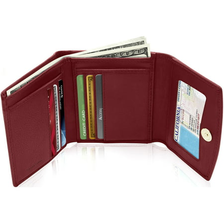 Small RFID Wallets For Women- Leather Slim Compact Trifold Womens Wallet Credit Card Holder Mini Coin Pouch Gifts For Women Red Ladies Small Wallets