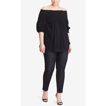 Lauren Ralph Lauren Plus Size Off-The-Shoulder Embroidered Top
