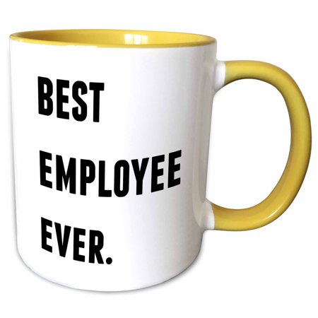 3dRose Best Employee Ever, Black Letters On A White Background - Two Tone Yellow Mug,