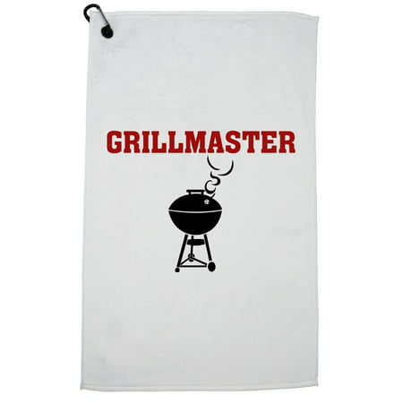 Grill Master - With BBQ Grill Graphic Golf Towel with Carabiner Clip