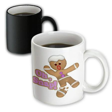 Christmas Holiday Mug (3dRose Funny Oh Snap Broken Snapped Gingerbread Man Cookie Holiday Christmas Humor, Magic Transforming Mug, 11oz )