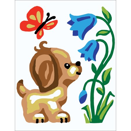 Collection D'Art Stamped Needlepoint Kit 14X18cm-Puppy With Butterfly ()
