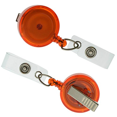 5 Pack Translucent Orange Retractable ID Badge Reels with Alligator Swivel Clip by Specialist ID by